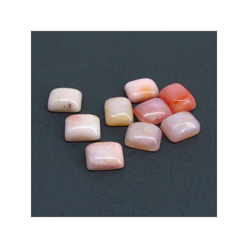 27 Cts. Pink Opal 11x9mm Cushion Shape Cabochon Parcel (8 Pcs.)