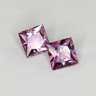 4.75 Cts. Pink Tourmaline 8mm Princess Cut Square Shape Matched Gems Pair - Total 2 Pcs. - SKU:157884