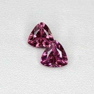2.21 Cts. Pink Tourmaline 7mm Regular Cut Trillion Shape Matched Gems Pair - Total 2 Pcs. - SKU:157878