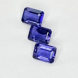 4.64 Cts. Iolite 8x6mm Step Cut Octagon Shape Loose Gemstone - Total 3 Pcs. - SKU:158418