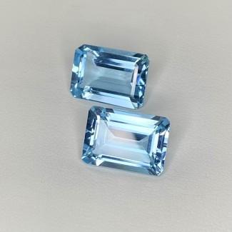 17 Cts. Sky-Blue Topaz 14x10mm Step Cut Octagon Shape Matched Gems Pair - Total 2 Pcs. - SKU:158317