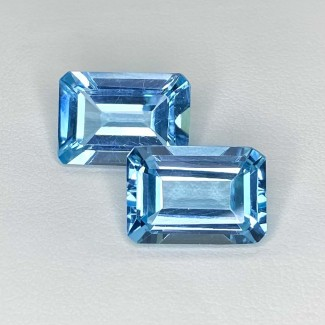 16.90 Cts. Sky-Blue Topaz 14x10mm Step Cut Octagon Shape Matched Gems Pair - Total 2 Pcs. - SKU:158318