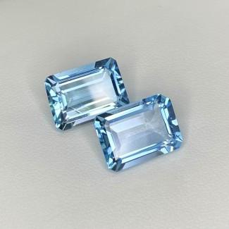 17.25 Cts. Sky-Blue Topaz 14x10mm Step Cut Octagon Shape Matched Gems Pair - Total 2 Pcs. - SKU:158315