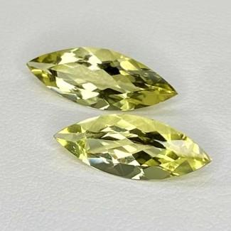 5.60 Cts. Green Beryl 18x7mm Regular Cut Marquise Shape Matched Gems Pair - Total 2 Pcs. - SKU:158293