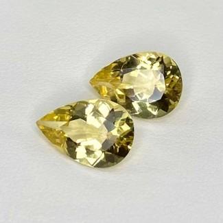 6.43 Cts. Yellow Beryl 13x9mm Regular Cut Pear Shape Matched Gems Pair - Total 2 Pcs. - SKU:158271