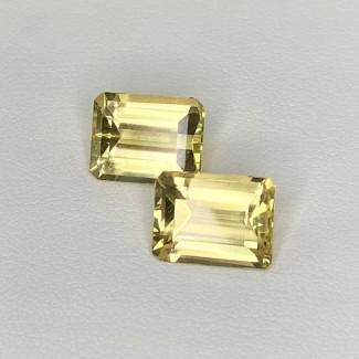 6.58 Cts. Yellow Beryl 11x8mm Step Cut Octagon Shape Matched Gems Pair - Total 2 Pcs. - SKU:158276