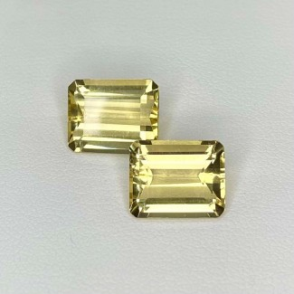 7.62 Cts. Yellow Beryl 11x9mm Step Cut Octagon Shape Matched Gems Pair - Total 2 Pcs. - SKU:158278