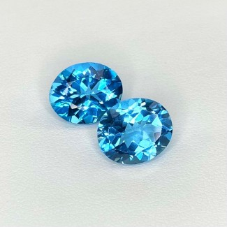 11.03 Cts. Swiss-Blue Topaz 12x10mm Regular Cut Oval Shape Matched Gems Pair - Total 2 Pcs. - SKU:158357