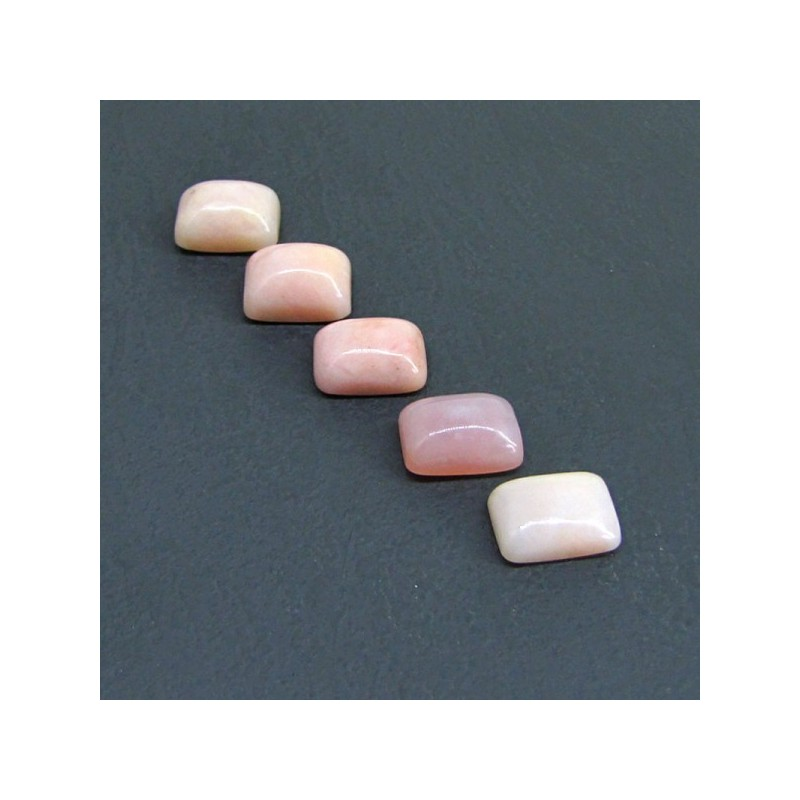 35.85 Cts. Pink Opal 14x10mm Cushion Shape Cabochon Parcel (5 Pcs.)