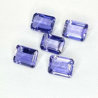 6.73 Cts. Iolite 8x6mm Step Cut Octagon Shape Loose Gemstone - Total 5 Pcs. - SKU:158421