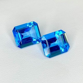 12.68 Cts. Swiss-Blue Topaz 12x10mm Step Cut Octagon Shape Matched Gems Pair - Total 2 Pcs. - SKU:158373