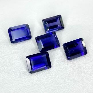 6.87 Cts. Iolite 8x6mm Step Cut Octagon Shape Loose Gemstone - Total 5 Pcs. - SKU:158419