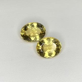 9.66 Cts. Yellow Beryl 13x10mm Regular Cut Oval Shape Matched Gems Pair - SKU:158306