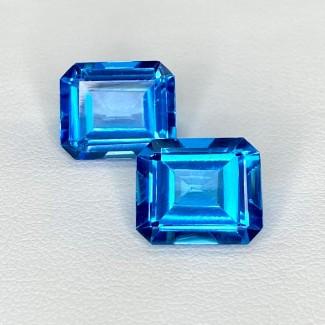 13.74 Cts. Swiss-Blue Topaz 12x10mm Step Cut Octagon Shape Matched Gems Pair - Total 2 Pcs. - SKU:158376