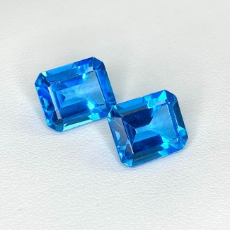 13.76 Cts. Swiss-Blue Topaz 12x10mm Step Cut Octagon Shape Matched Gems Pair - Total 2 Pcs. - SKU:158379
