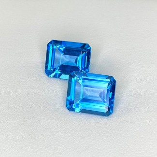 13.93 Cts. Swiss-Blue Topaz 12x10mm Step Cut Octagon Shape Matched Gems Pair - Total 2 Pcs. - SKU:158375