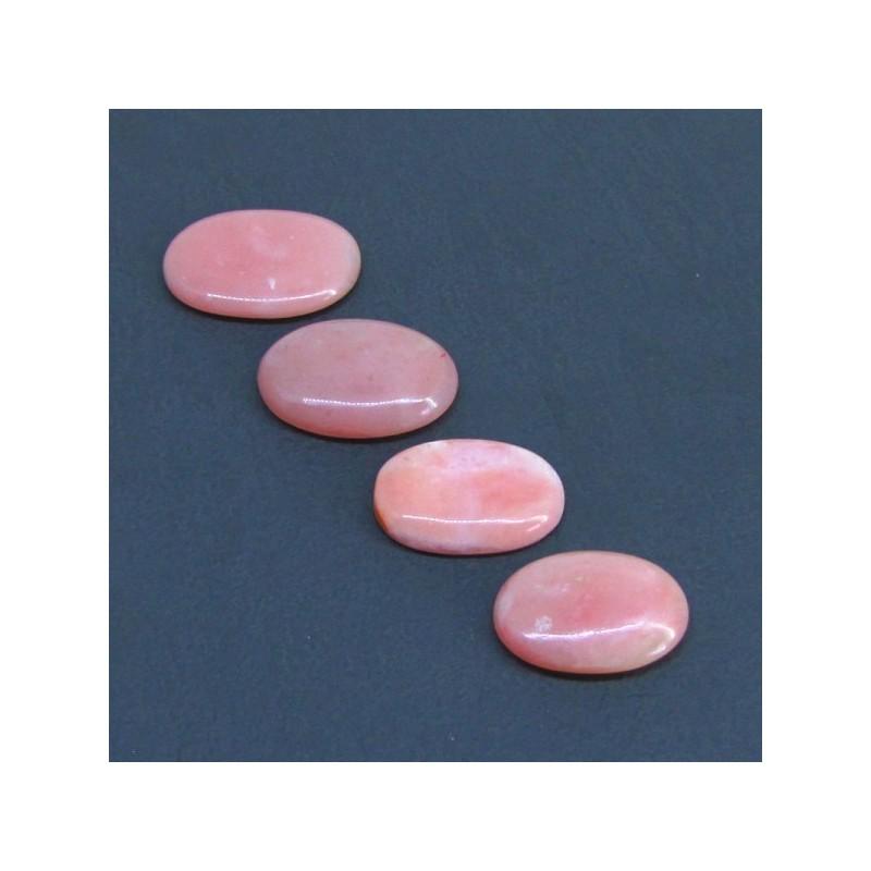 92 Cts. Pink Opal 26x19-32x23mm Oval Shape Cabochon Parcel (4 Pcs.)