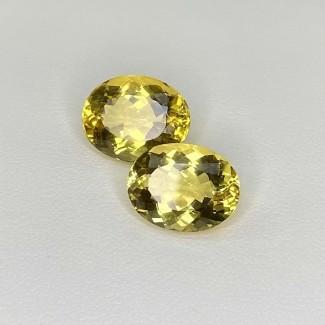 10.04 Cts. Yellow Beryl 13x10mm Regular Cut Oval Shape Matched Gems Pair - SKU:158303