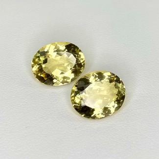 10.15 Cts. Yellow Beryl 13x11mm Regular Cut Oval Shape Matched Gems Pair - Total 2 Pcs. - SKU:158272
