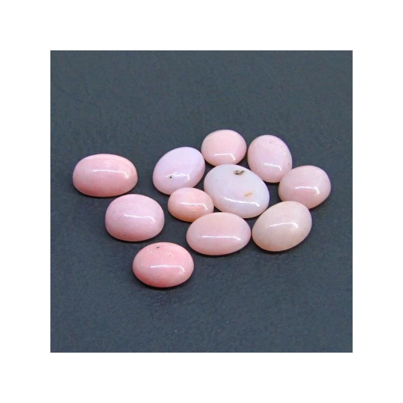 48.85 Cts. Pink Opal 8x10-12.5x15.50mm Oval Shape Cabochon Parcel (11 Pcs.)