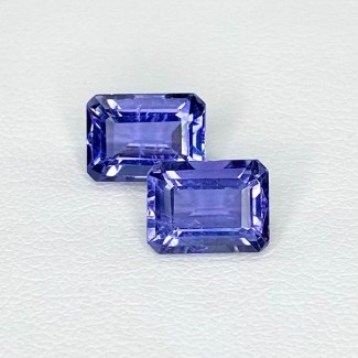 3.21 Cts. Iolite 8x6mm Step Cut Octagon Shape Loose Gemstone - Total 2 Pcs. - SKU:158420