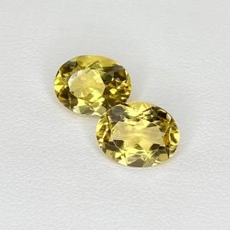4.61 Cts. Yellow Beryl 10x8mm Regular Cut Oval Shape Matched Gems Pair - Total 2 Pcs. - SKU:158269