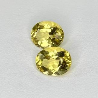 4.90 Cts. Yellow Beryl 10x8mm Regular Cut Oval Shape Matched Gems Pair - Total 2 Pcs. - SKU:158274