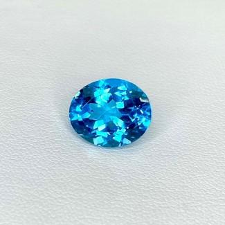 6.21 Cts. Swiss-Blue Topaz 12x10mm Regular Cut Oval Shape Loose Gemstone - SKU:158359