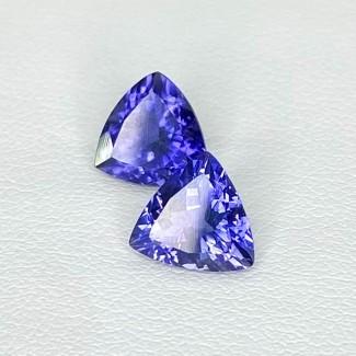 2.91 Cts. Iolite 8mm Regular Cut Trillion Shape Loose Gemstone - Total 2 Pcs. - SKU:158424