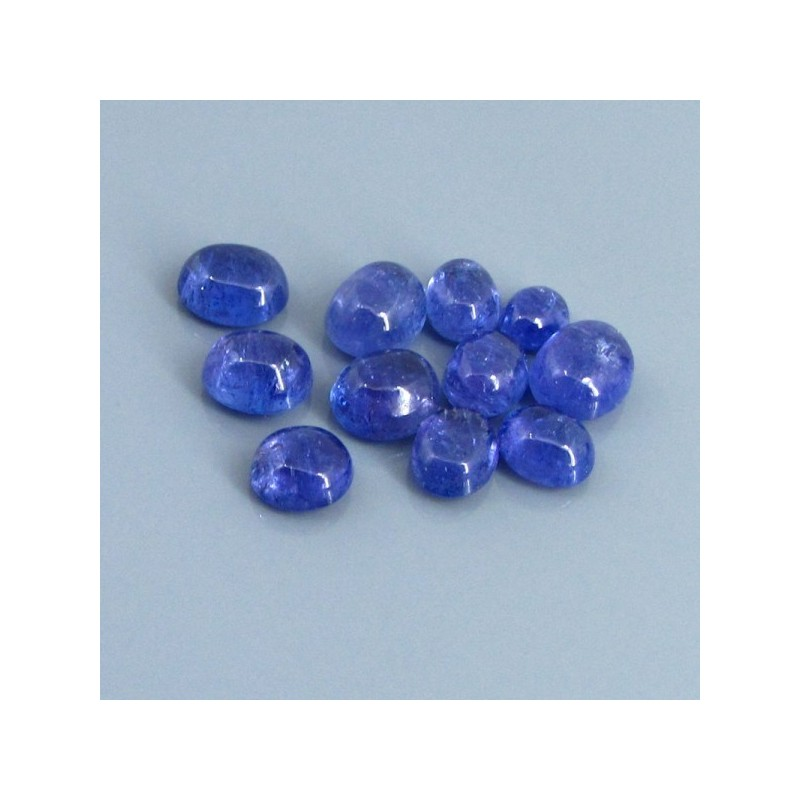 28.27 Cts. Tanzanite 6.5x5.5-9.5x8mm Oval Shape Cabochon Parcel (11 Pcs.)