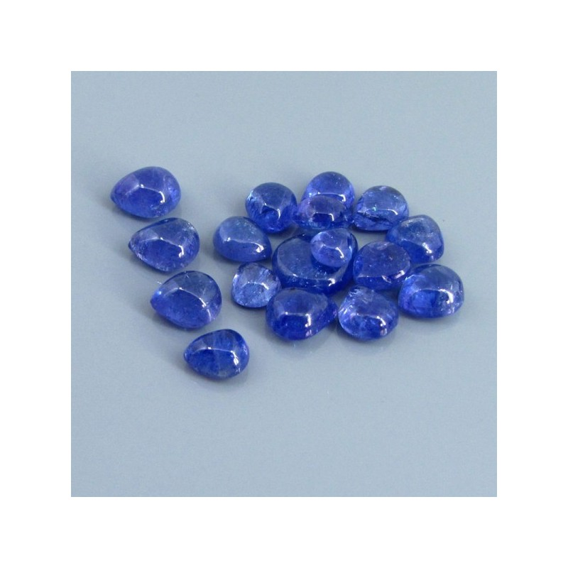 41.69 Cts. Tanzanite 6.5x5.5-13x10.5mm Pear Shape Cabochon Parcel (17 Pcs.)