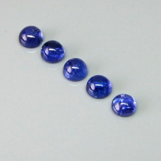 14.84 Cts. Tanzanite 8mm Round Shape Cabochon Parcel (5 Pcs.)
