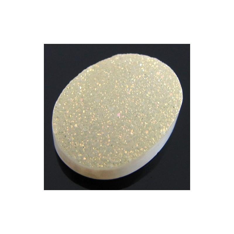 14 Ct. Tangy Lemon Color 20x15mm Oval Shape Drusy Quartz