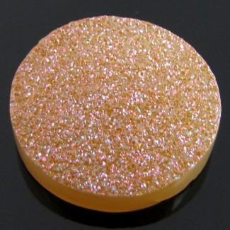 31 Ct. Azalea Pink Color 25mm Round Shape Drusy Quartz