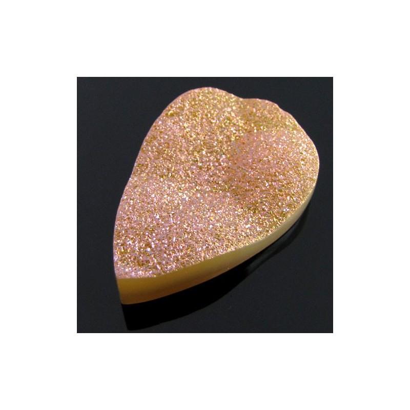 45.4 Ct. Azalea Pink Color 36x23mm Pear Shape Drusy Quartz