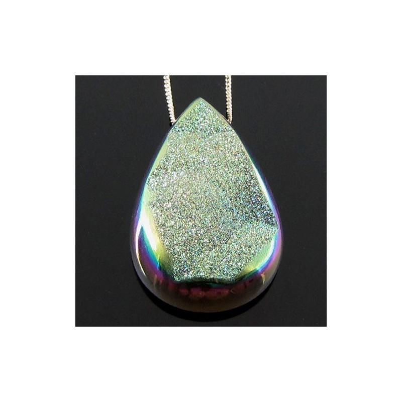 64.4 Ct. Lime Light Color 40x25mm Pear Shape Drusy Quartz