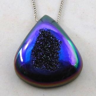 30.65 Ct. Cobalt Blue Color 27x23.5mm Pear Shape Drusy Quartz