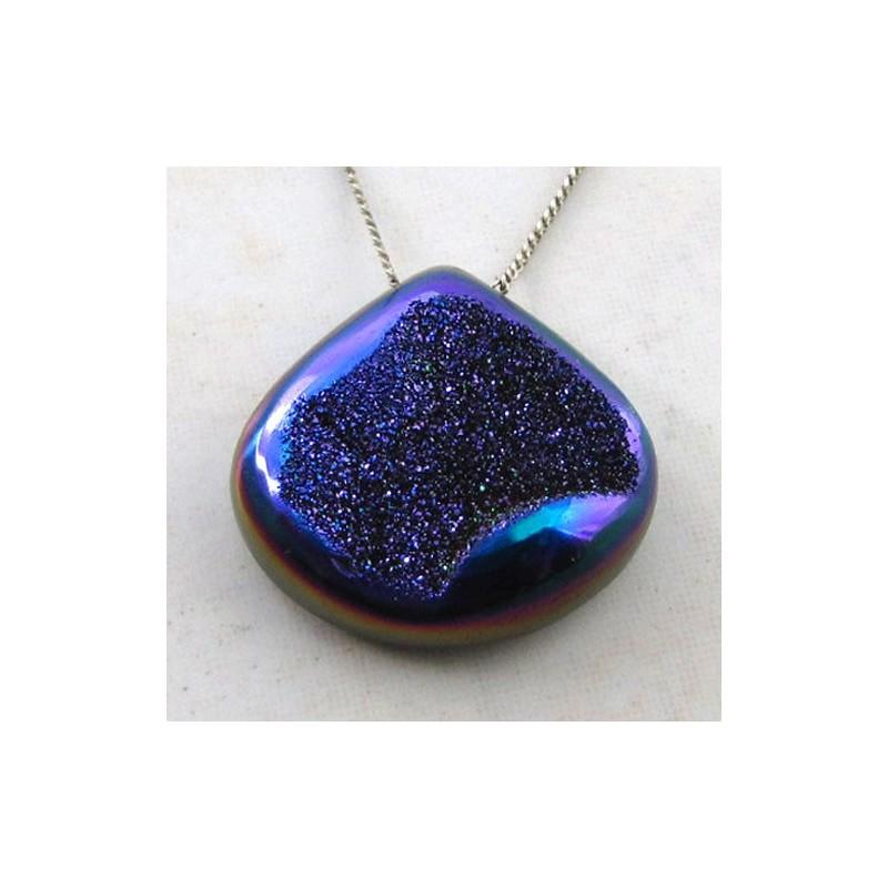 34.7 Ct. Cobalt Blue Color 26x25mm Heart Shape Drusy Quartz