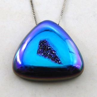 40.45 Ct. Cobalt Blue Color 27x26.5mm Trillion Shape Drusy Quartz