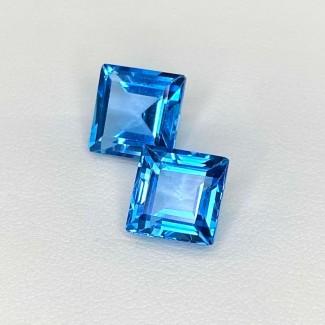 9.30 Cts. Swiss-Blue Topaz 9mm Step Cut Square Shape Loose Gemstone - Total 2 Pcs. - SKU:158623
