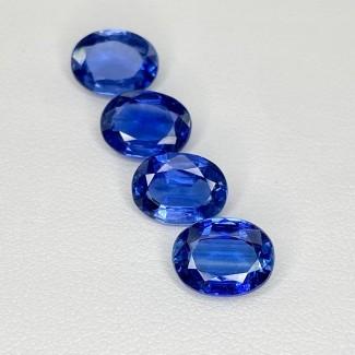 9.36 Cts. Blue Kyanite 9x7mm Regular Cut Oval Shape Loose Gemstone - Total 4 Pcs. - SKU:158501