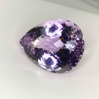 97.90 Cts. Pink Amethyst 37x28mm Checkerboard Pear Shape Loose Gemstone - SKU:158729