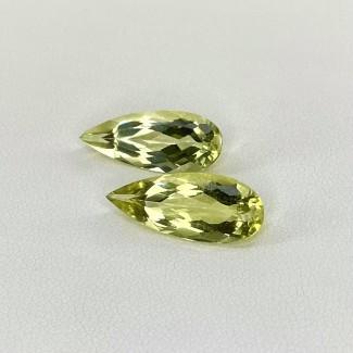 6.25 Cts. Green Beryl 18x7mm Regular Cut Pear Shape Matched Gems Pair - SKU:158287