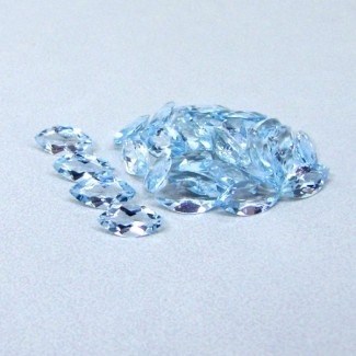 10.62 Cts. Aquamarine 8x4mm Marquise Shape Gemstone Parcel (28 Pcs.)