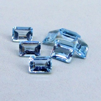 6.83 Cts. Aquamarine 7x5mm Octagon Shape Gemstone Parcel (8 Pcs.)