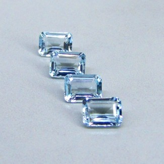 5.91 Cts. Aquamarine 8x6mm Octagon Shape Gemstone Parcel (4 Pcs.)