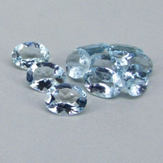 9.65 Cts. Aquamarine 8x6mm Oval Shape Gemstone Parcel (10 Pcs.)