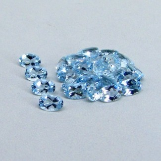 10.60 Cts. Aquamarine 6x4mm Oval Shape Gemstone Parcel (26 Pcs.)