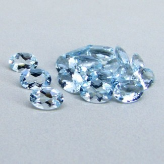 6.93 Cts. Aquamarine 6x4mm Oval Shape Gemstone Parcel (18 Pcs.)