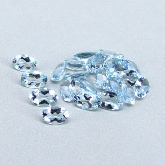 7.77 Cts. Aquamarine 6x4mm Oval Shape Gemstone Parcel (22 Pcs.)